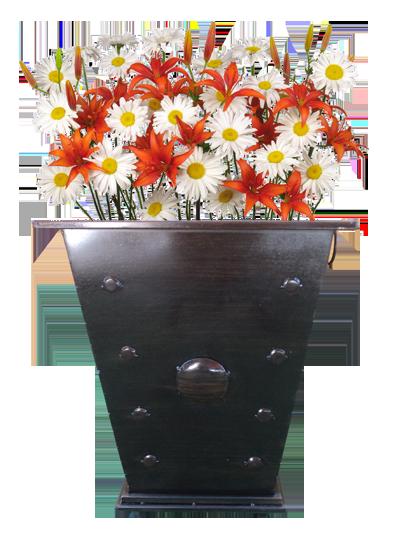 Macetero cuadrado alto con flores
