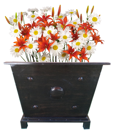 Macetero cuadrado bajo con flores