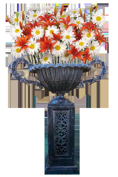 Macetero de pie chico con flores