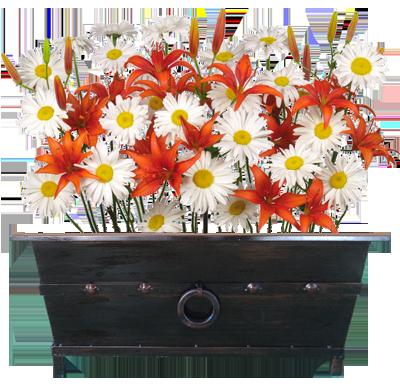 Macetero rectangular grande con flores